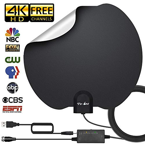 [2019 Upgraded] HDTV Antenna,Indoor Digital TV Antenna Amplified 80-120 Miles Range Support 4K 1080P Free HD VHF Uhf & All Older TV's Digital Antenna with Amplifier Signal Booster,17ft Coax Cable