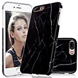 Marble iPhone 7 8 Plus Case Protective Black Marble Pattern Design AOODOO TPU Soft Rubber Silicone Clear Bumper Glossy Cover(5.5 Inch)