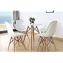 【On Sale】Inspirer Studio® Set of 4 New 17 inch SeatDepth Eames Style Side Chair with Natural Wood Legs Eiffel Dining Room Chair Lounge Chair Eiffel Legged Base Molded Plastic Seat Shell Top side chairs (White)