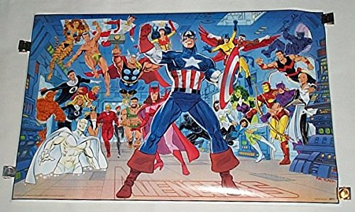 Vintage original 34 by 22 inch 1989 Marvel Comics Avengers poster: Thor, Captain America, She-Hulk, Iron Man, Falcon, Black Widow, Hawkeye, Black Panther, Vision, Scarlet Witch, -