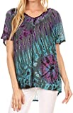 Sakkas 17788 - Soraya Tie-Dye Scoop Neck Short Sleeve Embroidered Tunic Relaxed Fit Top - Teal - OS