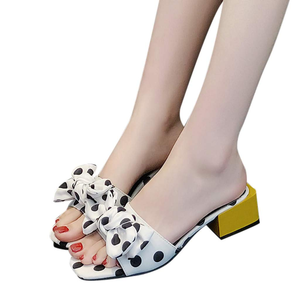 kaifongfu Summer Womens Slippers Bow High Heel Slippers Fashion Open Toe Ladies Slippers Shoes