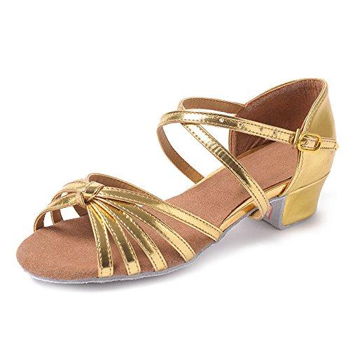 filles mesdames femmes enfants 13 les bas de chaussures Tango enfants pour latine noeuds YFF danse talons Bal Gold danse qZ7B6B