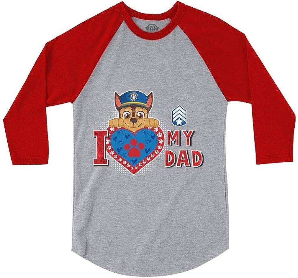 Chase Paw Patrol Love Dad Nickelodeon 3//4 Sleeve Baseball Jersey Toddler Shirt