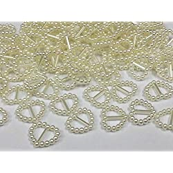 CraftbuddyUS 100 Cream Acrylic Heart Ribbon Slider Buckles for Wedding Invitations, Card Craft