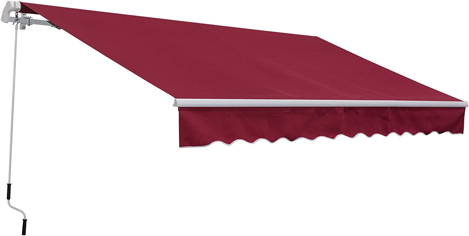 Outsunny 11.8' x 8.2' Outdoor Patio Manual Retractable Exterior Window Awning Sunshade, Shelter with Durable PU Design, Red