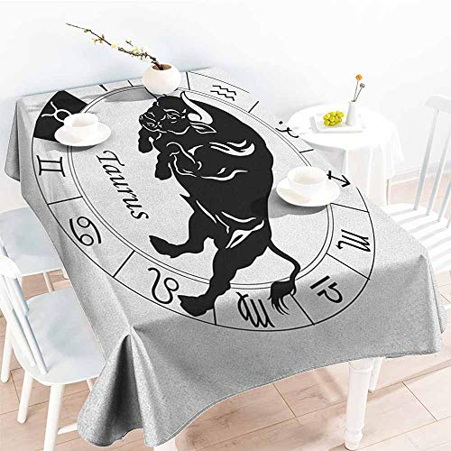 Fashions Rectangular Table Cloth,Zodiac Taurus Mythological Ox Jumping Silhouette in a Zodiac Wheel with Twelve Signs,Resistant/Spill-Proof/Waterproof Table Cover,W54x72L, Black and White]()