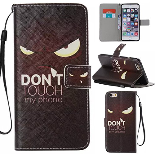 iPhone 6 Plus / 6S Plus 5.5 inch Coque , Apple iPhone 6 Plus / 6S Plus 5.5 inch Coque Lifetrut® [ Don't Touch My Phone ] [Emplacement de carte] Pu Leather Flip stand Portefeuille Housse anti-rayures a