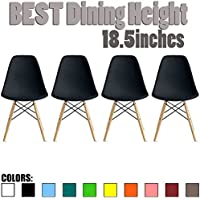 2xhome - Set of Four (4) Black - Eames Style Side Chair Natural Wood Legs Eiffel Dining Room Chair - Lounge Chair No Arm Arms Armless Less Chairs Seats Wooden Wood leg Wire leg
