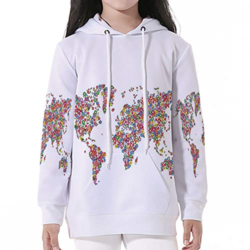 (Teen Boys'Galaxy Sweatshirts,Floral World Map,Floral Planet Earth with Blossoms)
