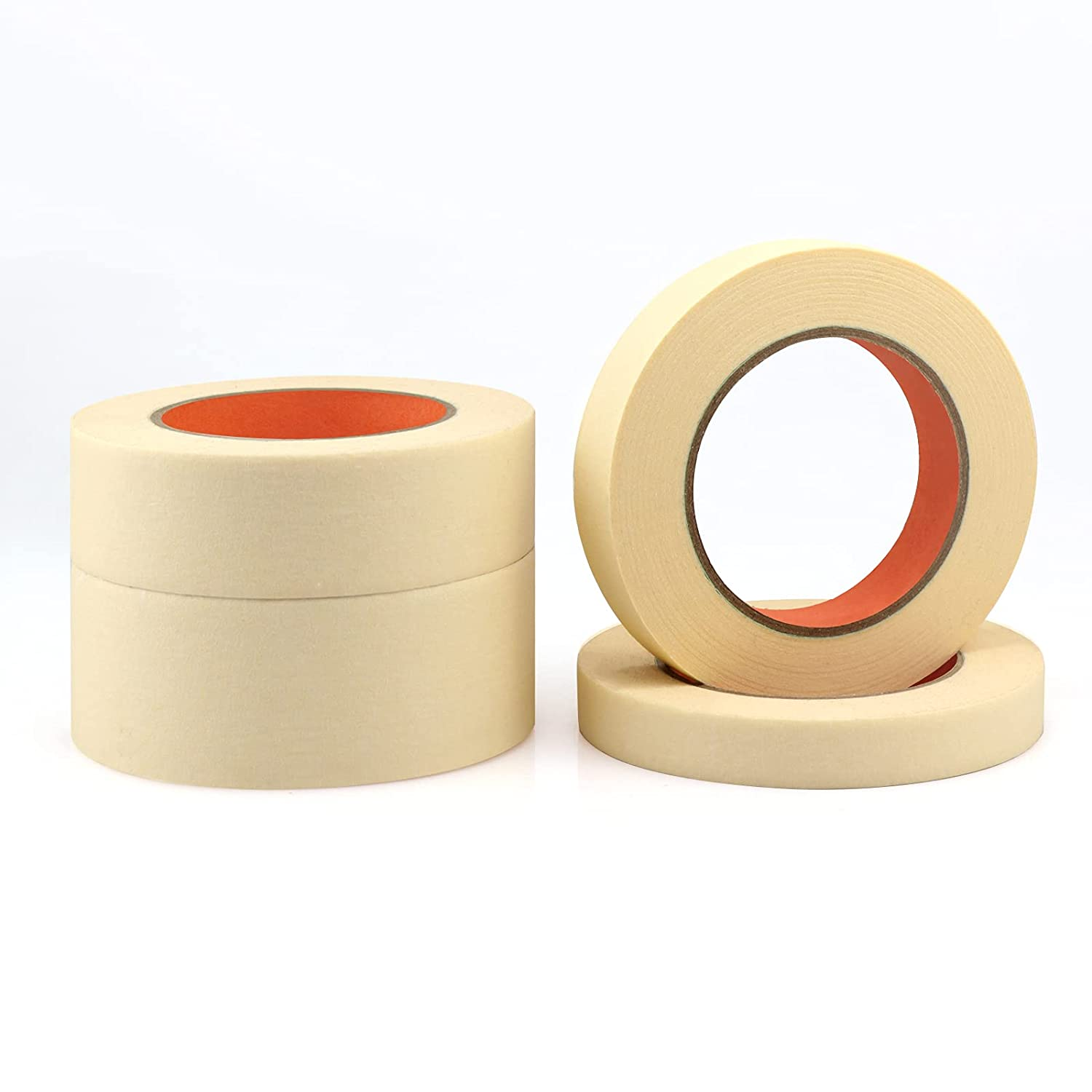 9Rolls (540 Yards Total) General Purpose Beige White Masking Tape 1 inch by 60Yard Decorative Home and Office Craft Tape for Basic Use Premium Painters Decoration Masking Paper