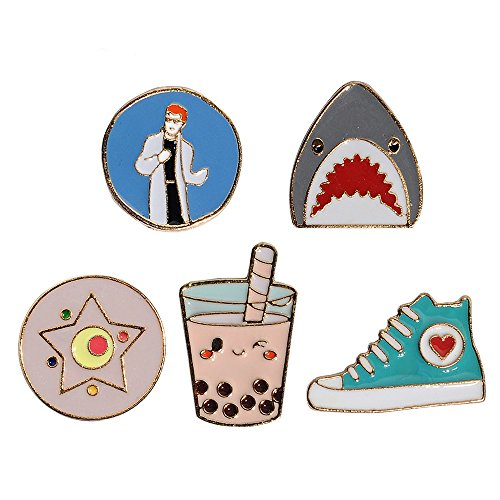 Cute Enamel Lapel Pins Sets Cartoon Animal Plant Fruits Foods Brooches Pin Badges for Clothing Bags Backpacks Jackets Hat DIY (Shark Milk Tea Shoes boy Set of 6) -