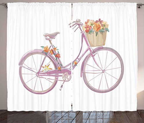 """Ambesonne Bicycle Curtains, Watercolor Illustration of a Pink Bicycle with Flowers Romantic Vintage, Living Room Bedroom Window Drapes 2 Panel Set, 108"""" X 63"""", Mauve Tan"""