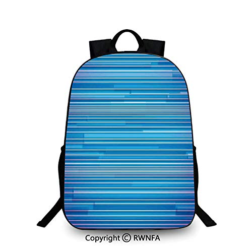 Notebook computer schoolbag,Vibrant Gradient Linear Several Sized Lines Pattern Old Modern Graphic Image Travel College School Bags Royal Blue
