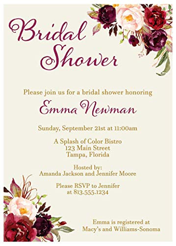 Floral Bridal Shower Invitations Burgundy Blooms Wedding Party Invites Botanical Watercolor Victorian Flowers Customize Vintage Purple Maroon (10 count)]()
