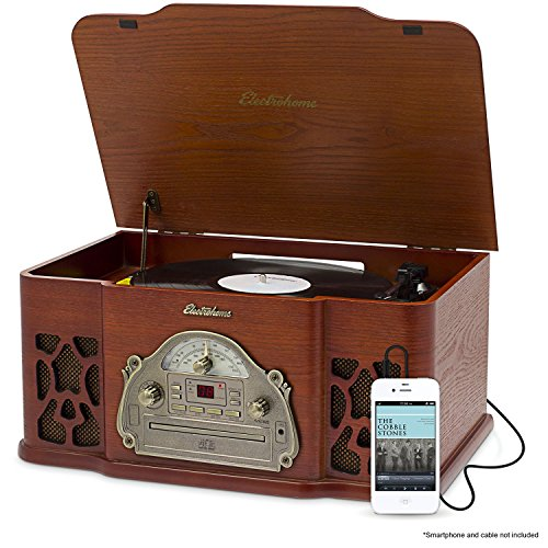 Electrohome Winston Vinyl Record Player 3-in-1 Classic Turntable Natural Wood Stereo System, AM/FM Radio, CD,
