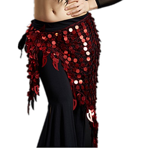 Burgundy Belly Dance - 2018 Argentina Stylish Triangle Fringed Belly Dance Hip Scarf Jazz Skirt(Burgundy)