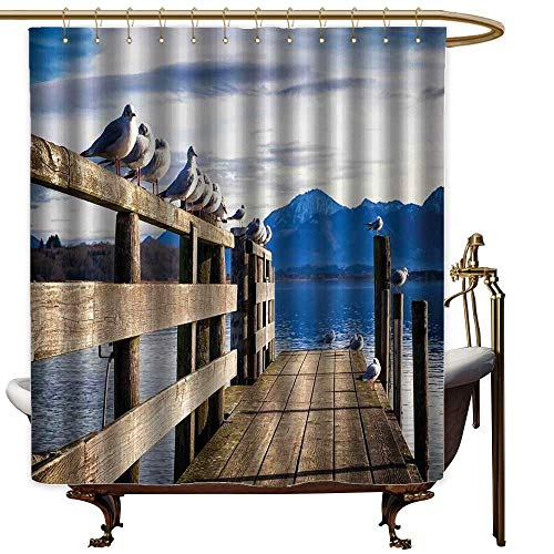 """TimBeve Shower Curtain Liner Mildew Resistant Landscape,Seagulls on Old Wooden Jetty Lakeside Hills in Bavaria Landscape Picture,Blue Tan White,for Bathroom Showers, Stalls and Bathtubs 60""""x72"""""""