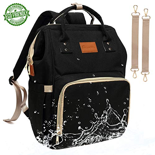 Baby Diaper Bag Backpack - Large Diaper Backpack for Mom Dad with Stroller Straps, Multi-Function, Waterproof, Stylish and Durable Travel Diaper Bags for Girls and Boys (Black)