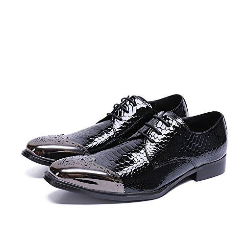in A da Mano Classiche Uomo Fatte Oxford Lavoro Pelle Scarpe Fashion Laceed da in Black Pelle Scarpe nAfpP