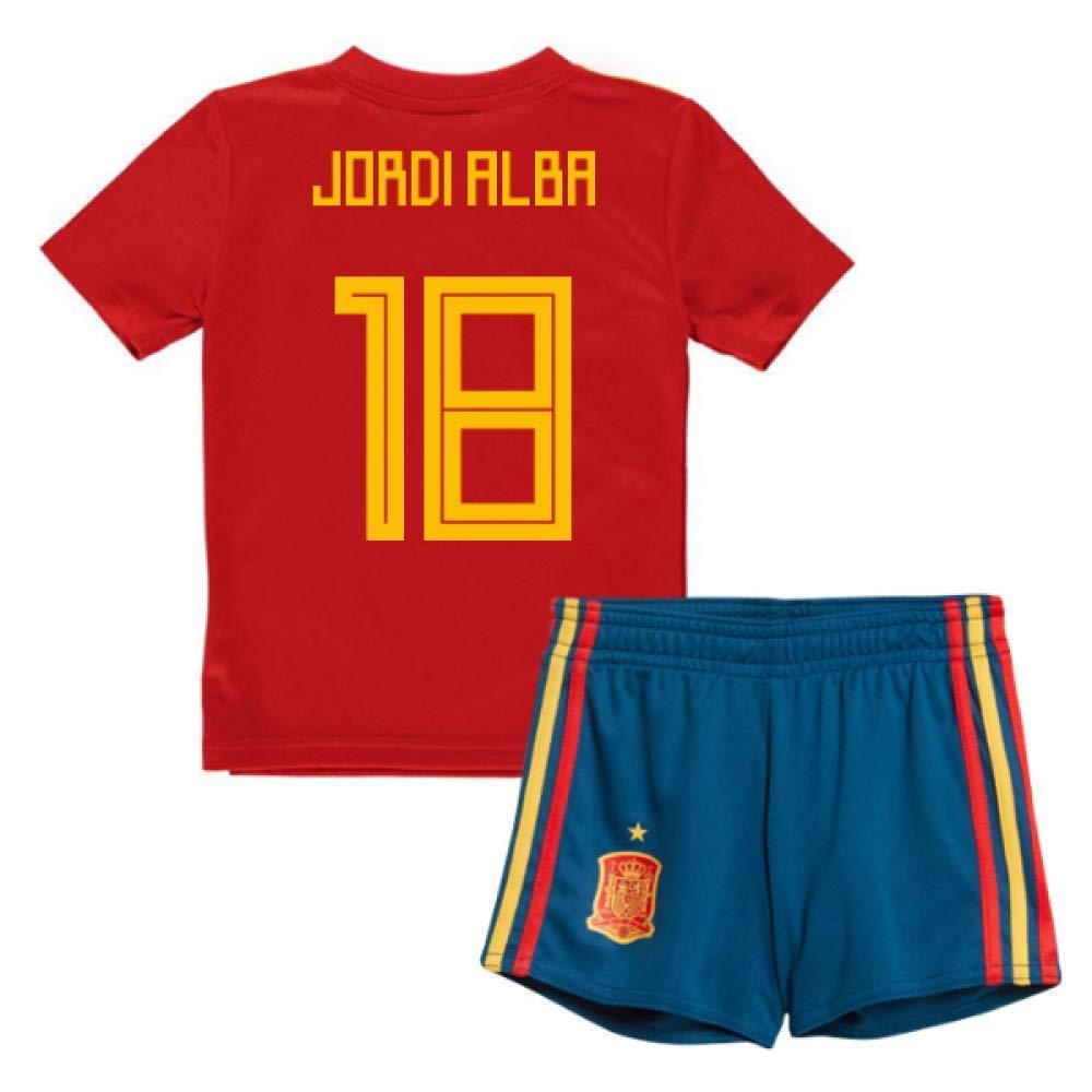 UKSoccershop 2018-19 Spain Home Mini Kit (Jordi Alba 18)