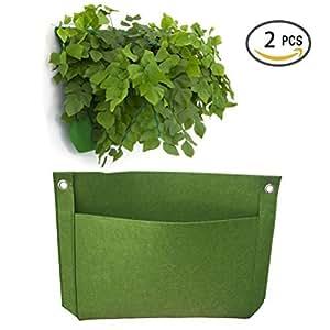 """vtete 2pcs 1bolsillo 15""""× 11"""" vertical para colgar maceta de pared que viven pared crecer envase bolsas verde"""