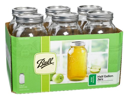 Ball Wide Mouth Half Gallon 64 Oz Jars with Lids and Bands, Set of 6