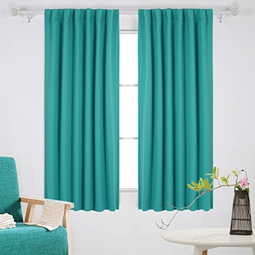 Deconovo Solid Tab and Pocket Room Darkening Shades Window Coverings for 52x63 Inch Turquoise Panels