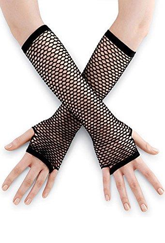 Length Fishnet Gloves (Balera Costume Fingerless Gloves Elbow Length Fishnet Cerise OSFA)