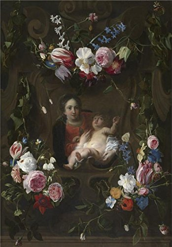Java Teak Swing (Oil Painting 'Madonna Surrounded By A Garland Of Flowers By Cornelis Schut,First Half Of The 17th Century' 24 x 34 inch / 61 x 87 cm , on High Definition HD canvas prints, Foyer, Garage And Ki decor)