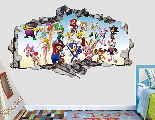 (Mario Sonic Groups Friends 3D Sticker Wall Decal Smashed Vinyl Decor Mural Games - Broken Wall - 3D Designs - AL44 (Small (Wide 22