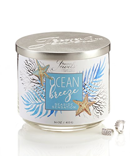 Giftcraft Secret Jewels 15 oz Triple-Wick Scented Soy Candle Jar with Metal Lid (Ocean Breeze, Seaside Sensation)