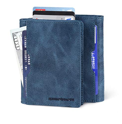 SERMAN BRANDS Wallets for Men Slim Mens leather RFID Blocking Minimalist Card Front Pocket Bifold Travel Thin (Arctic Blue 5.S)