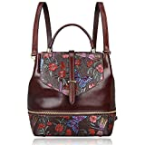 PIJUSHI Designer Women's Backpacks Floral Leather Mini Backpack Handbags (65363, Brown)