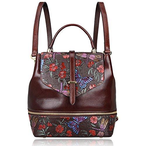PIJUSHI Designer Women's Backpacks Floral Leather Mini Backpack Handbags (65363, Brown)