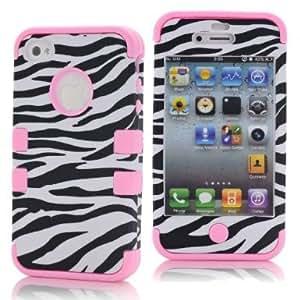 SHHR-HX4G93N Zebra Design Hybrid Cover Case for Apple iPhone4 4s 4G -Light Pink Color
