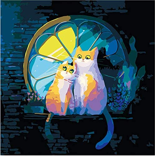 REDWPQ Pintura Digital Dibujar en la Tela Lindo par de Gatos por ...