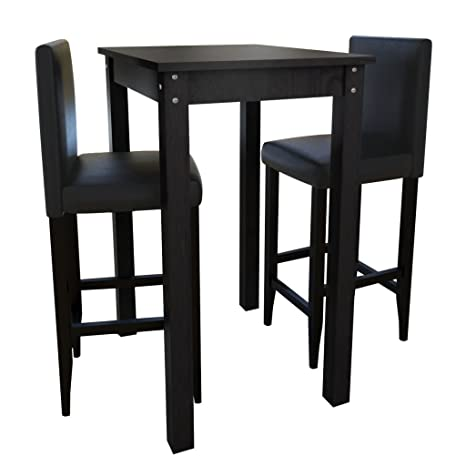 Set Tavolino da Bar con 2 Sgabelli Neri.set sedie e tavolo giardino ...