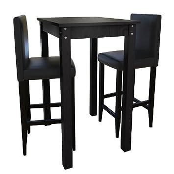 vidaXL Set de 1 table carré table de cuisine et 2 tabourets noir MDF ...