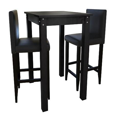 Sedie E Tavoli Da Esterno.Set Tavolino Da Bar Con 2 Sgabelli Neri Set Sedie E Tavolo