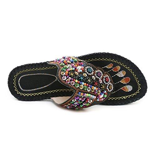 RAZAMAZA Femmes Sandales Enfiler Tongs Black à 5 d'été 11rCwq