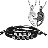 Couples 2pcs Bracelets and 2 pcs Necklaces for King Queen Charm Handmade Personalized Wristband,Stainless Steel Key Heart Necklace with Shiny Rhinestone Inlaid
