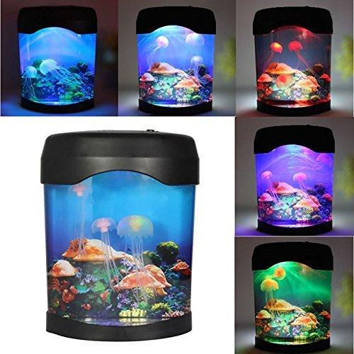Yosoo Aquarium Night Light Lamp,Colorful Novelty LED Light Silica Artificial Jellyfish Tank Swimming Mood Lamp for Home…