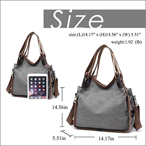 Canvas Bag Vintage Simple Gray Hand Hobo Totes Lustear Bag Women's Style USqYn5B