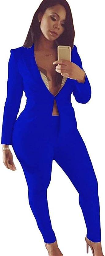 Americana Mujer Blazer Y Pantalones Dos Piezas Set Basic Elegantes Manga Larga Slim Fit Chaqueta De Traje Primavera Otoño Moda Oficina Negocios Conjunto Camisa Y Pantalones De Traje Ropa: Amazon.es: Ropa y