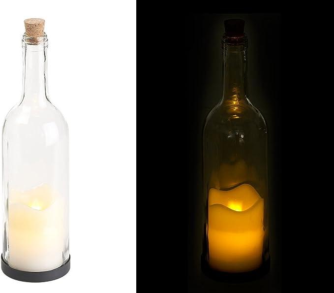 Lunartec - Botella de cristal decorativa con vela y llama móvil ...