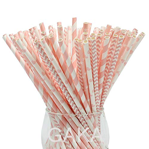 Paper Straws,100 Pack,Biodegradable Paper Drinking Straws, Pink Straws for Parties,Birthday,Baby Shower,Marriage,Engagement,Table Decoration,Carnivals and Crafts