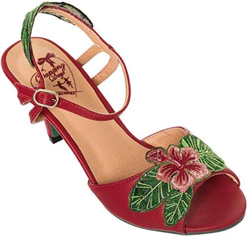 Dancing Days APRIL Aloha Tiki HIBISCUS Vintage Peep Toe SANDALETTE Rockabilly Kirschrot