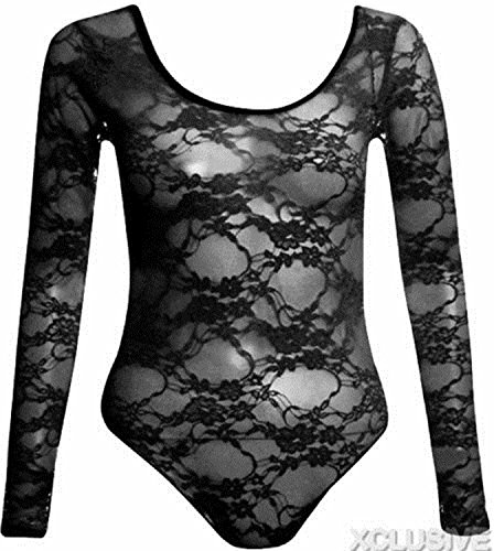 New Womens Plus Size Floral Lace Body Suits Long Sleeve Leotard Lace Tops (20, Black)