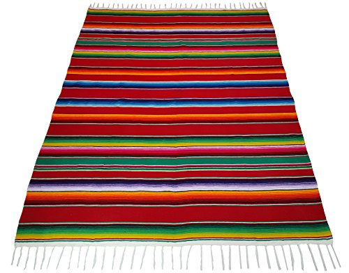 "El Paso Designs Mexican Serape Blankets Extra large Bright & Colorful Saltillo Serape Blanket 84""x62"""